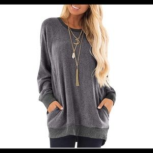 0669 Womens Casual Color Block Long Sleeve Round